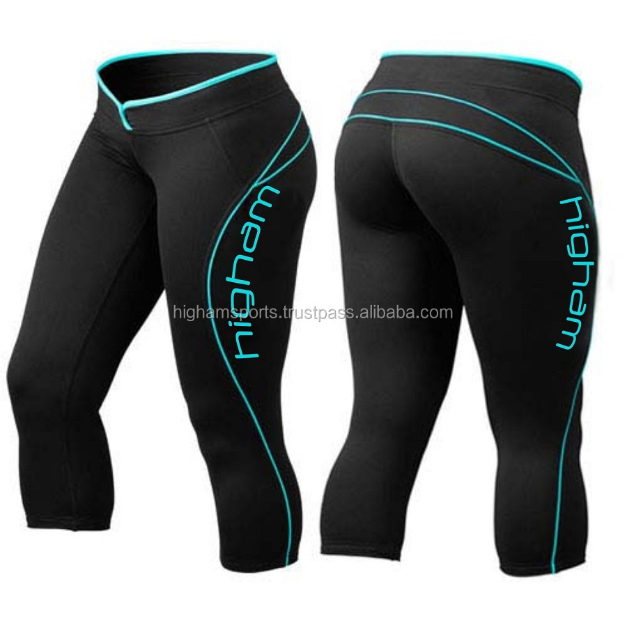 OEM Women 3/4 Black Insert Leggings Athletic Tight Gym Sports Compression Fitness Yoga Pants Capri