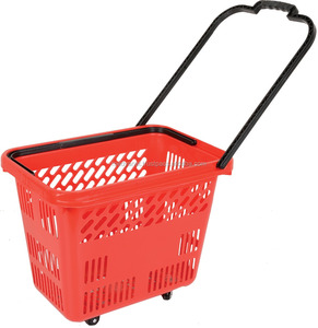 Foldable Plastic Supermarket Shopping Hand Basket with wheels