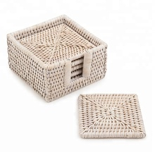 Best selling Square Rattan Coaster Set 6 pieces rattan cup holder