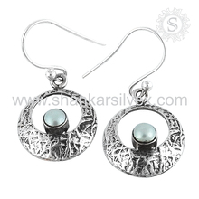 New fashion design pearl earring silver jewelry store 925 sterling silver gemstone earrings handmade jaipur wholesalers