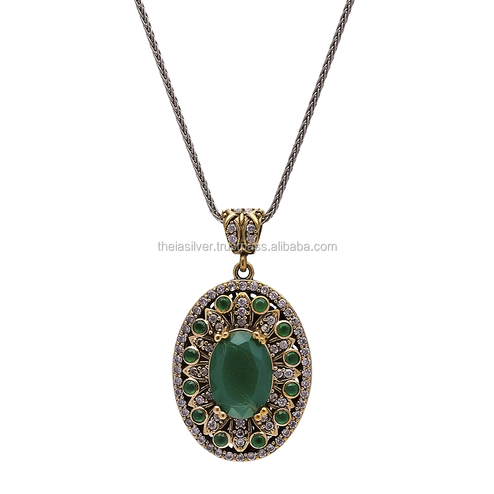 Silver Jewelry With Gemstones Turkish Wholesale Handcrafted Silver Authentic Necklace Pendant 925 Sterling Silver
