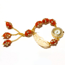 Gold Plated Handmade Bracelet with Analog Watch With Kundan Work, CZ & Pearl