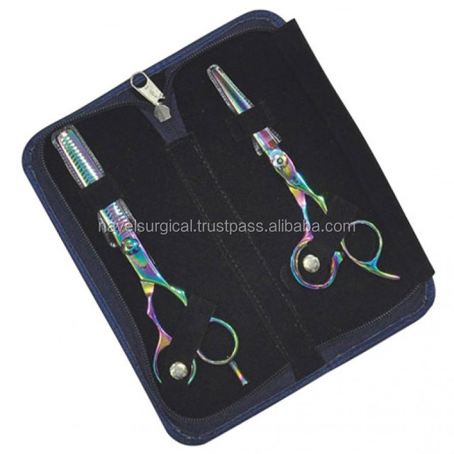 Thinning Scissors Haircut Razor Hair Scissor 2-Pcs Multi Color Duo Set