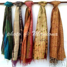Reversible handmade re-cycled silk scarf / stole multi-color multi-use unique handwoven kantha vintage kantha scarf women hijab