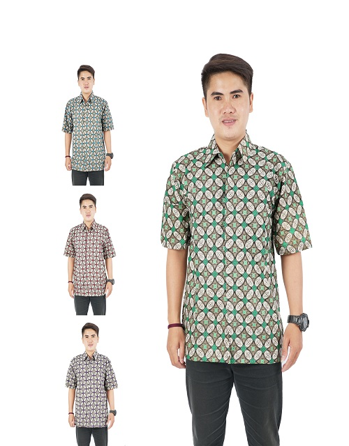 Handsome Design batik A shirt short sleeves for men pure 100% Cotton