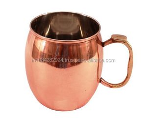 DIOS SOLID BRASS THUMB REST HANDLE COPPER MUG FOR VODKA AND MOSCOW MULE -24 OZ..