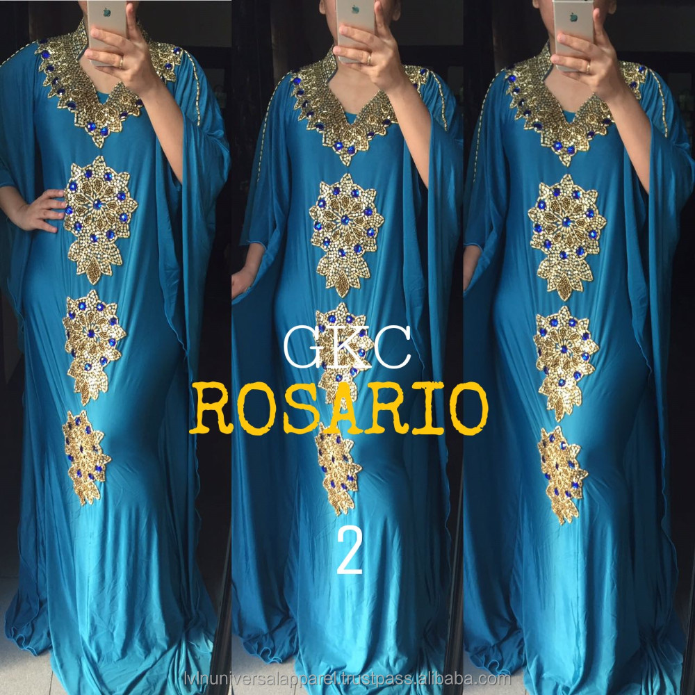 Rosario Teal Blue Premium Hand Beaded Formal Evening Gown Dress Kaftan Indonesia