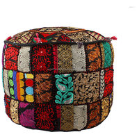 18 Inch Embroidered vintage patchwork antique furniture pouf covers wholesale indian pouf ottoman