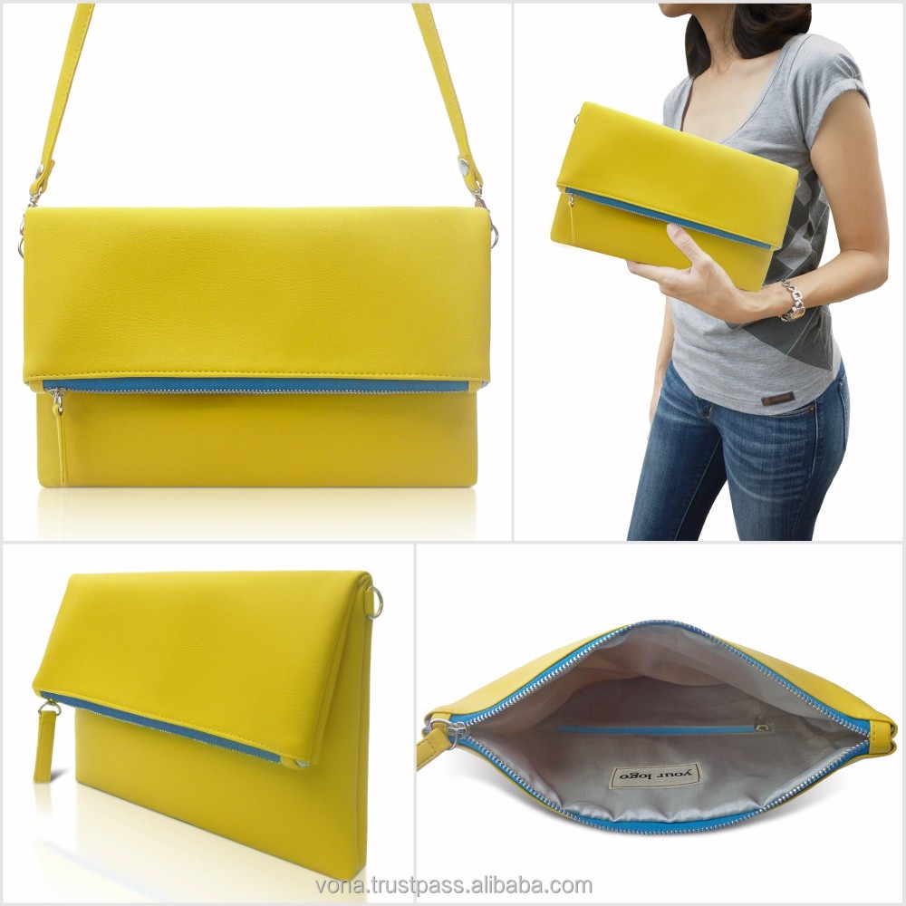 OEM Bags Women Handbags Sling Bag Fold Over Handbag (PIT1303-Yellow)