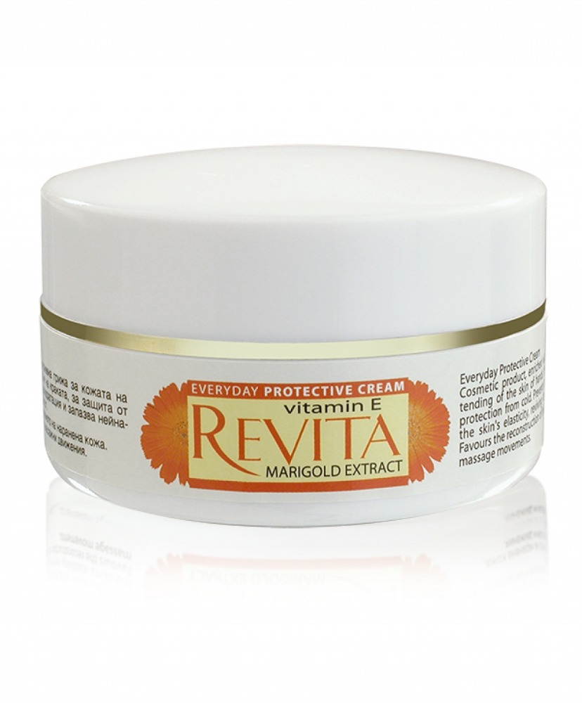 70 ml Revita everyday protective cream with vitamin E and marigold extract , Moisturizing, softens the skin, product of Bulgaria