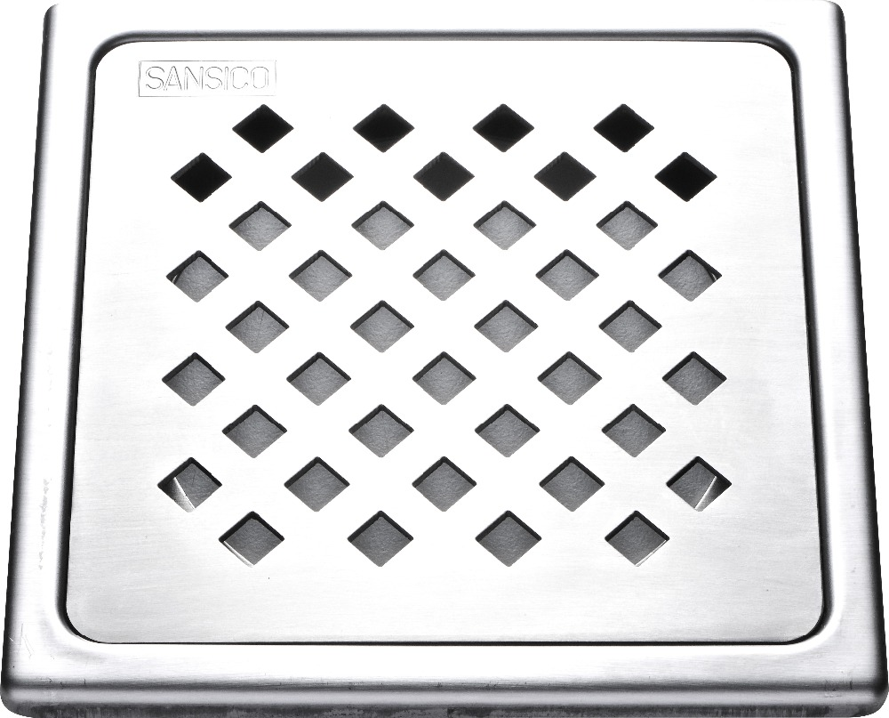 "6"" Diamond Square 4 Stainless Steel Floor Trap Tile Insert Floor Drain Cover Bathroom floor grate"