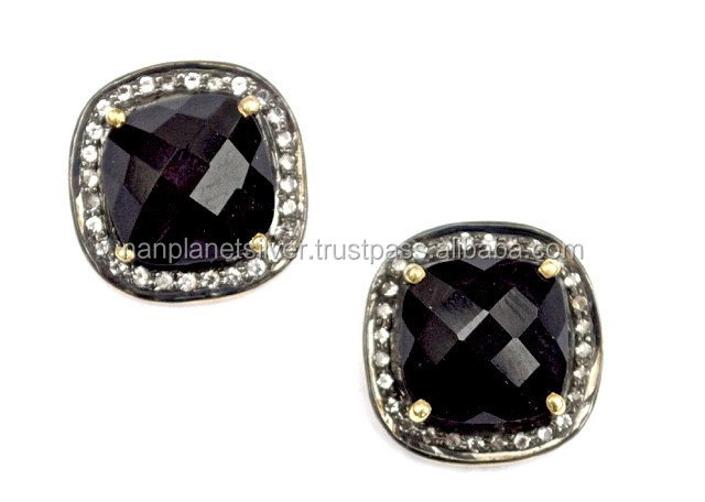 Pave Diamond Black Onyx Cushion Shape Stud Earrings