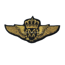 embroidered uniform wings, Hand Embroidered Badge Wing, Hand Made Pakistan Silver and Gold Bullion Wire Embroidery Crests