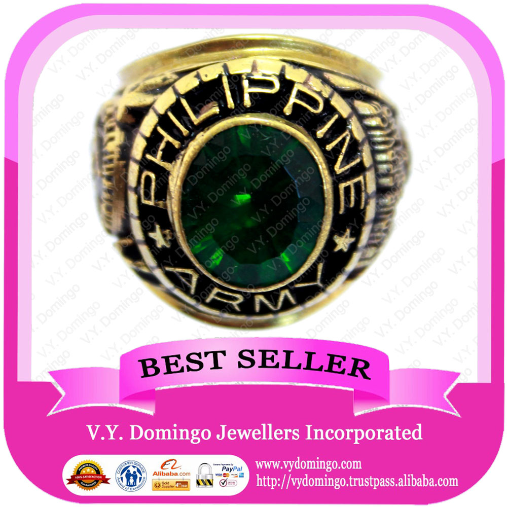1987 Wholesale Customized Ring Green Stone Bullring Military Ring