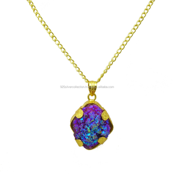 Fashion Shiny Gold Plated Wholesale Fashion Titanium Druzy Gemstone Pendant