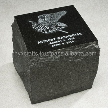 Jet Black Marble Block Raw Block Shape Cremation Urns in cheap price