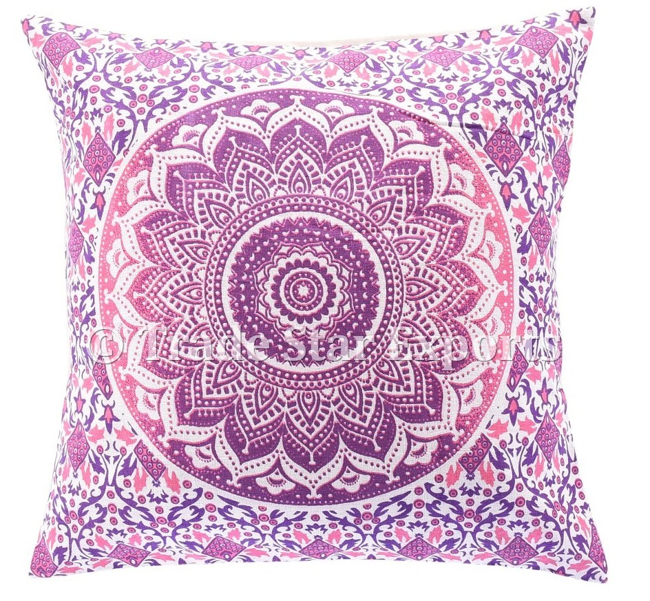 Indian Mandala Pillow Case Ombre Fabric Ethnic Pillow 16x16 Screen Print Cushion Cover