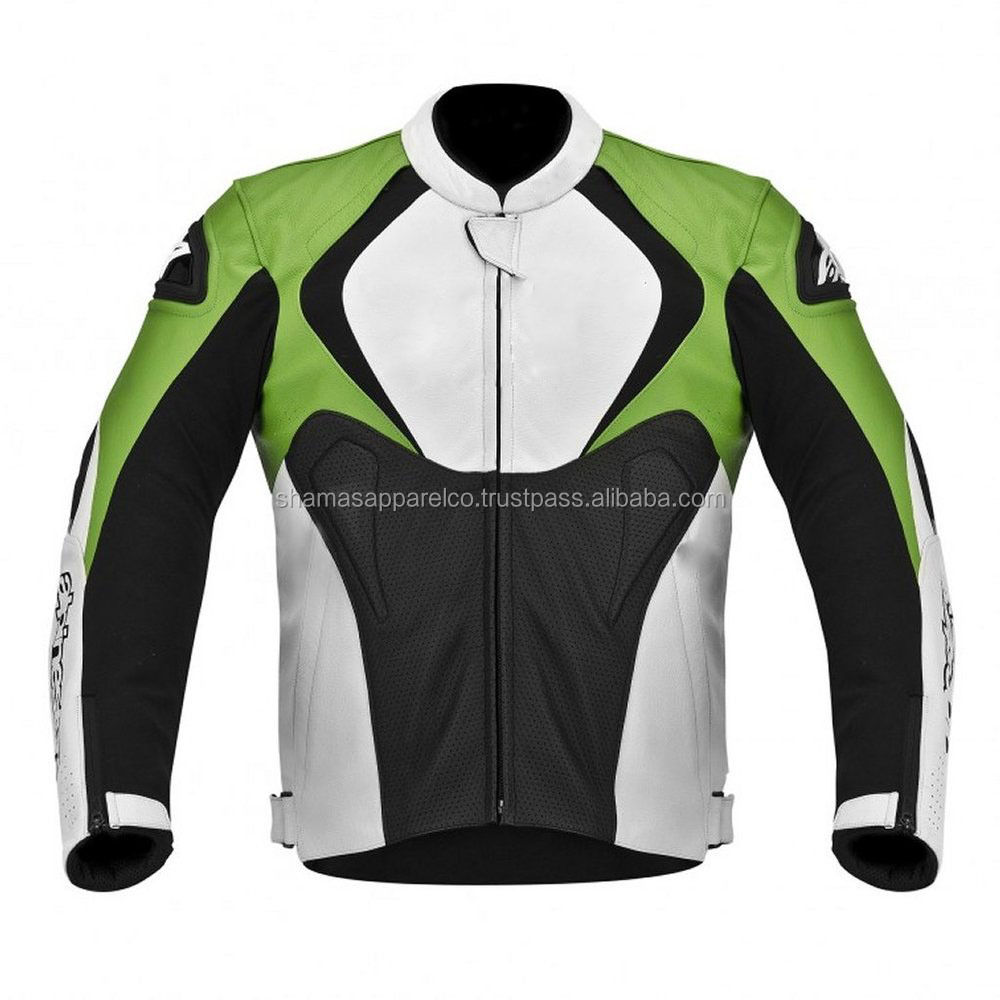 Motorbike street jackets men leather jackets white/Black