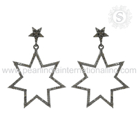 Simulating star micro pave diamond earrings indian design silver earring 925 silver jewelry supplier wholesaler silver jewelry