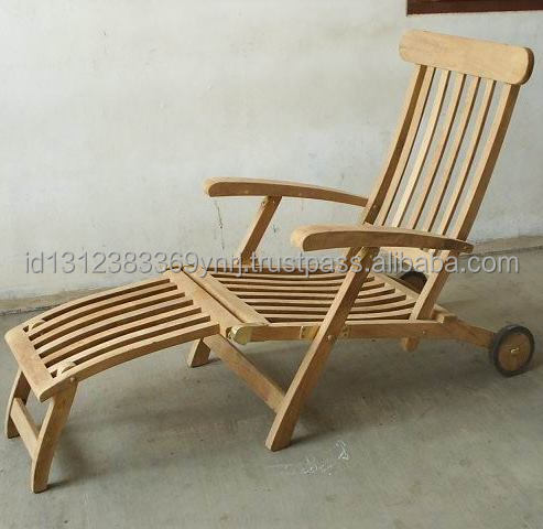 High quality teak wooden garden steamer with wheel made in Indonesia