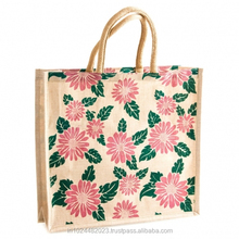 JUTE SHOPPING TOTE BAG LEATHER HANDLE