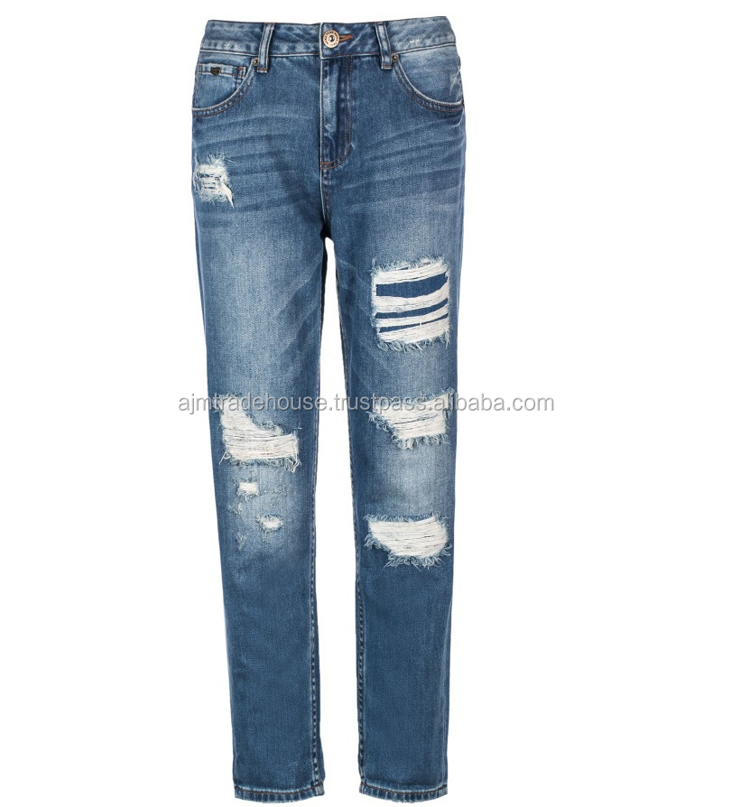 Distressed denim jeans pants / ripped / 2017 garment factory 100% cotton distressed denim jean ladies jeans pants price