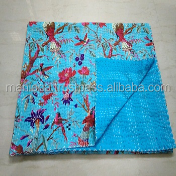 Handmade Indian Embroidery Designer Good Quality Kantha Quilt