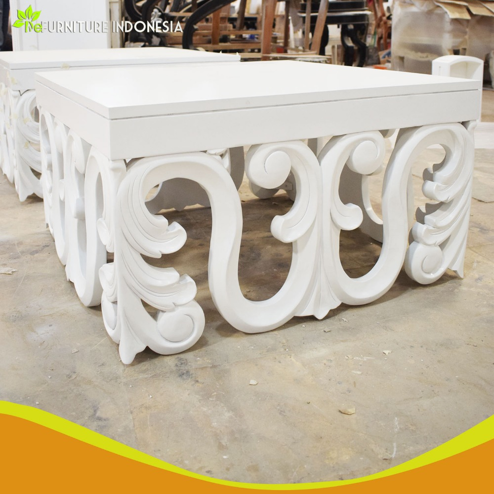 Fashionable white mahogany wooden modern simple style carved coffee table