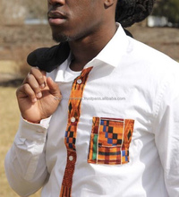 Traditional African Kente Styled White Full Sleeves Men's Shirt