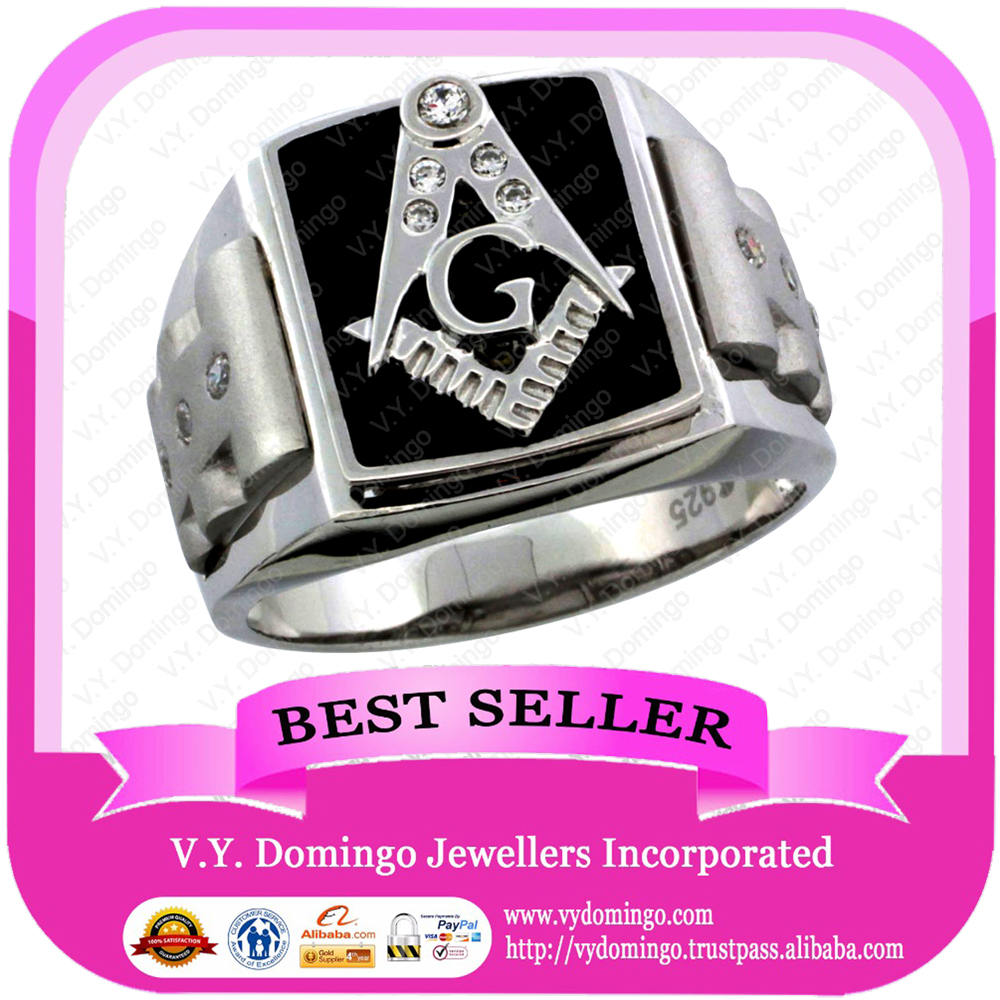 Pure Sterling Silver 925 with Onyx Stone and Emblem on Top Masonic Ring