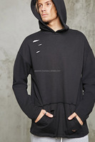 Cutted Style Hoodie kangaroo pocket terry knit hodie