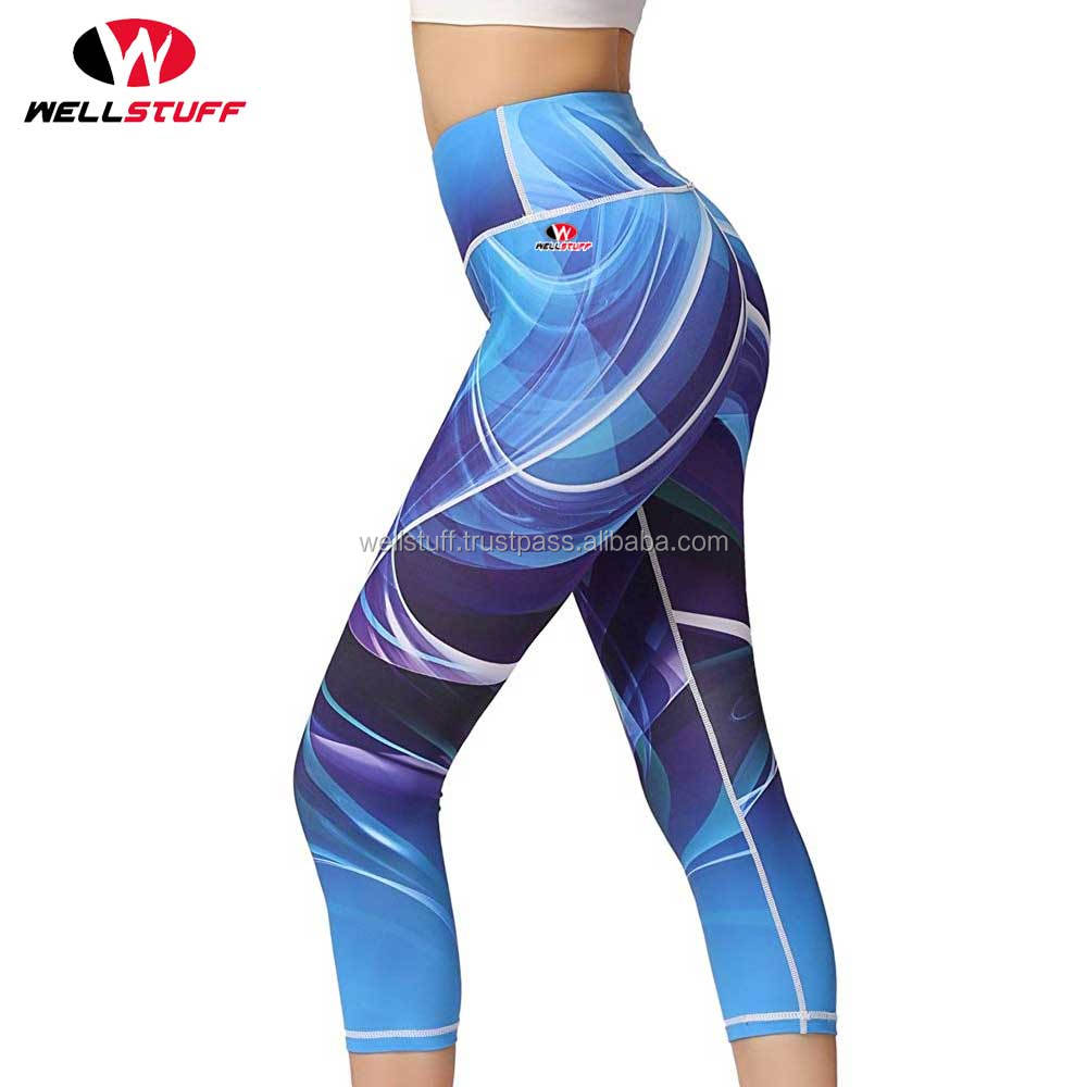 Women High Waist Printed Yoga Pants Tummy Control Workout Capri Leggings Running Leggings with Hidden Pocket