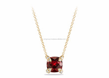 Big Gemstone Gold Plated With CZ Studded Pendant