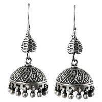 Indian women jhumka fashion oxidised earring plain silver 925 sterling silver jewelry supplier earrings wholesale india