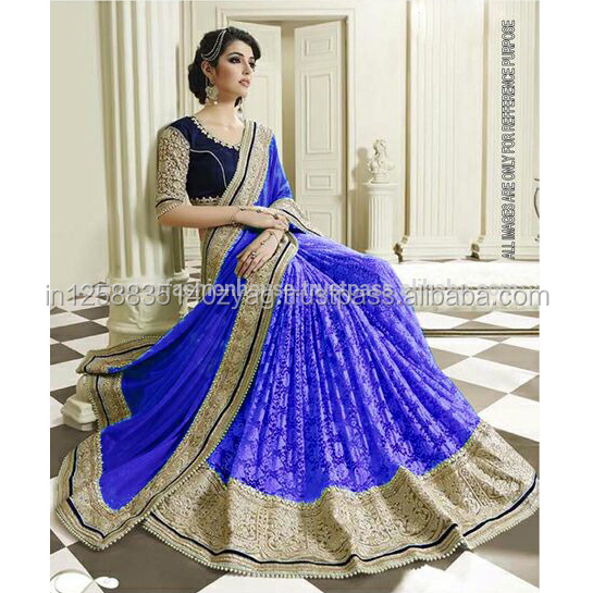 Heavy designer special party wear Rasal and Geogertte fabric saree