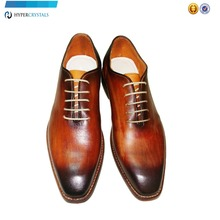 Latest wood patina leather shoes