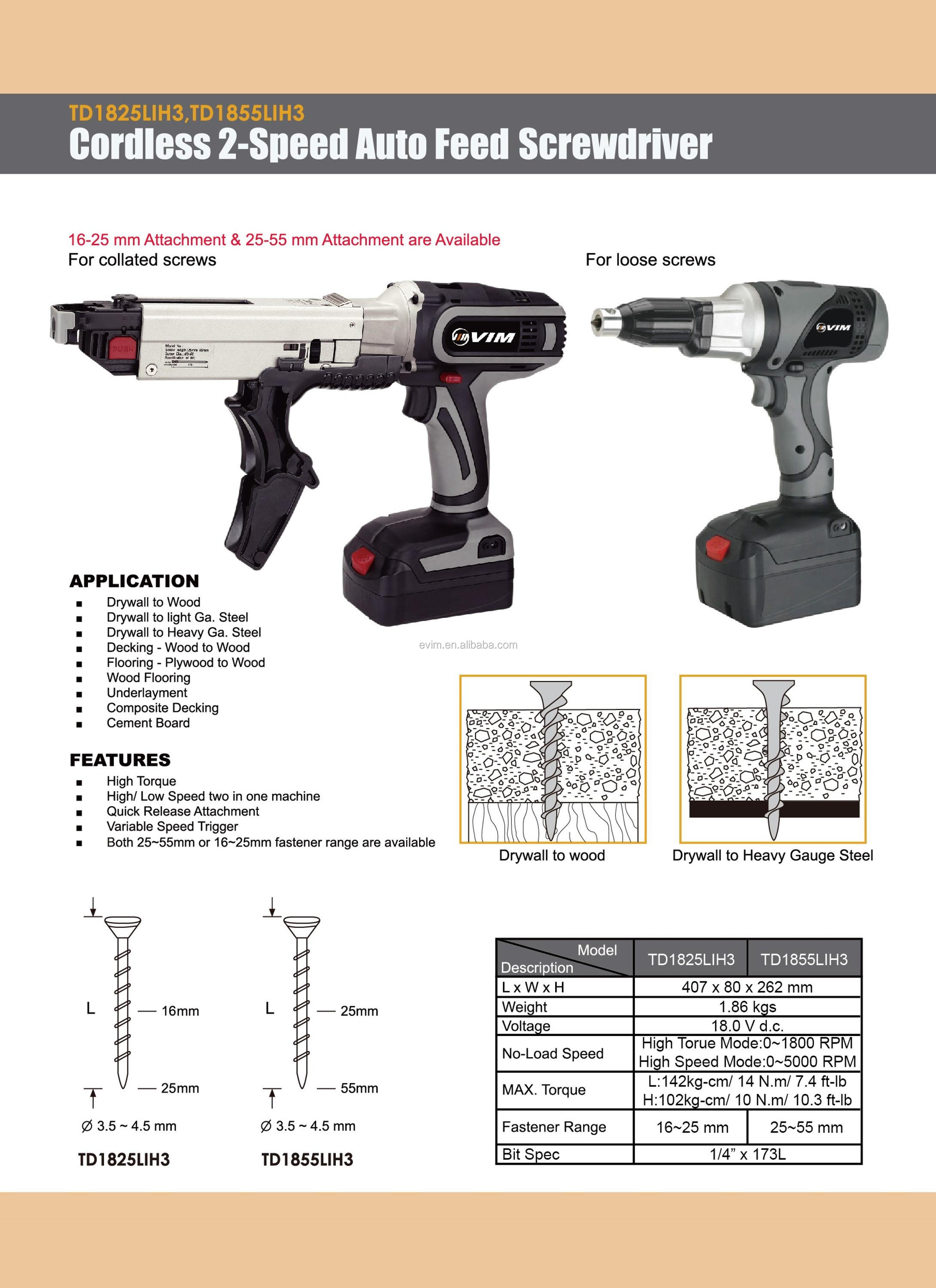 TD1855LIH3 Cordless 2-Speed Autofeed / Drywall Screwdriver