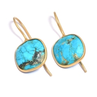 Turquoise Gold Plated Cushion Bezel Earring
