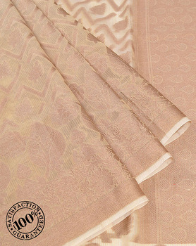 Banarasi Sarees from India Beige Kora Silk Floral Thread Weaving Banarasi Saree in Varanasi