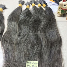Grey human hair for braiding, 100% human hair braiding hair, no tangle no shed human hair weave, human hair bulk