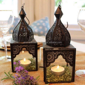 Moroccan Fretwork Black Antique Arabian Metal Lantern with Clear Glass Hanging / Table Tea Light Candle Holder
