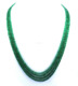 Natural emerald 4 Strand beads Necklace with 925 Silver Claps 24""