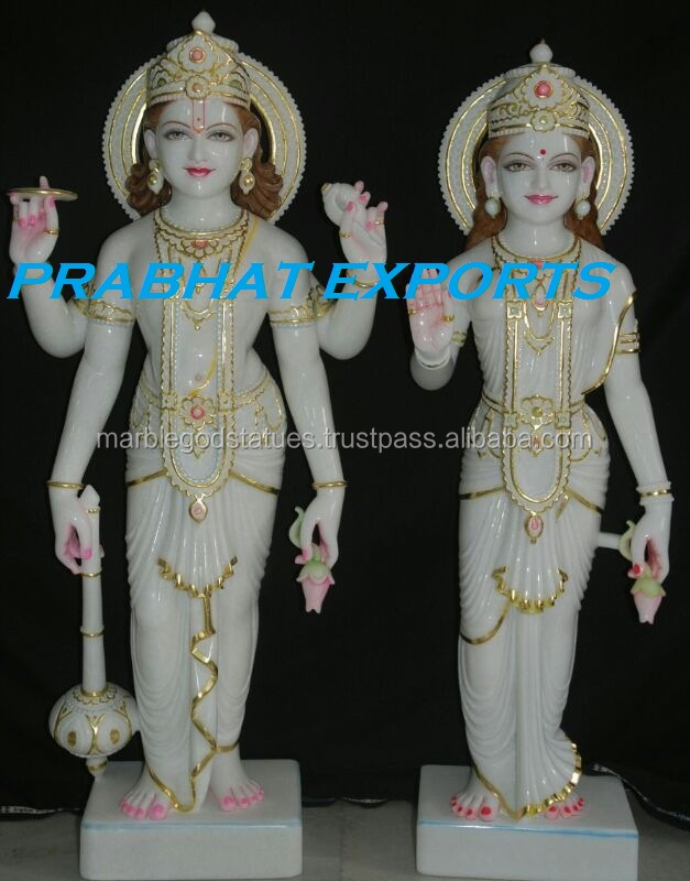 LAXMI NARAYAN STATUES HANDCARVED IN WHITE MARBLE