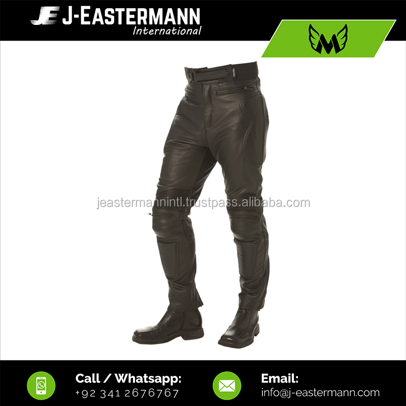 Custom Made Cheap Price Rubber Padded Black Genuine Cowhide Leather Motorcycle Racing Pant with CE Body Armors