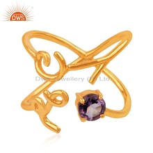 Natural Amethyst Gemstone Lover Design Ring Gold Plated Silver Cross Shape Ring Womens Jewelry Supplier
