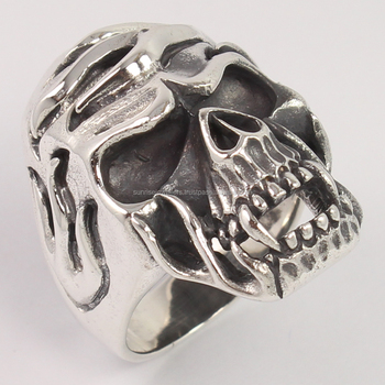 Solid 925 Sterling Silver Gothic Skull Biker Finger Ring Choose Any Size Men's Jewelry