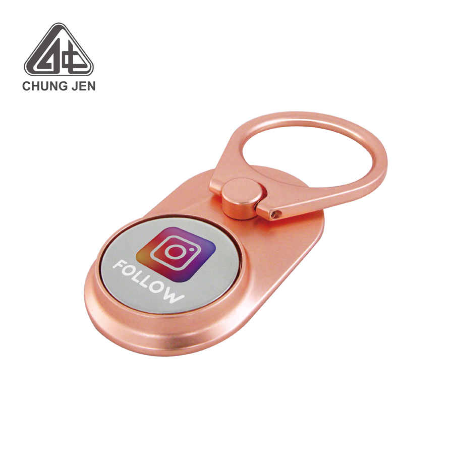 360 Degree Personalized Logo Metal Phone Ring Holder with Shopping Cart Coin