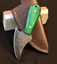 Damascus Steel Skinner knife with Leather Sheath