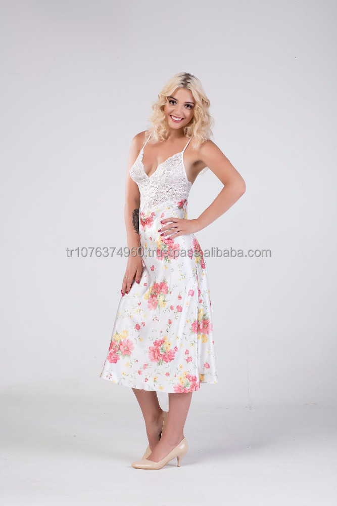 Floral Satin Sexy Nightdress