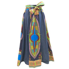 woman wear denim and cotton dashiki printed african 10 pannel skirt